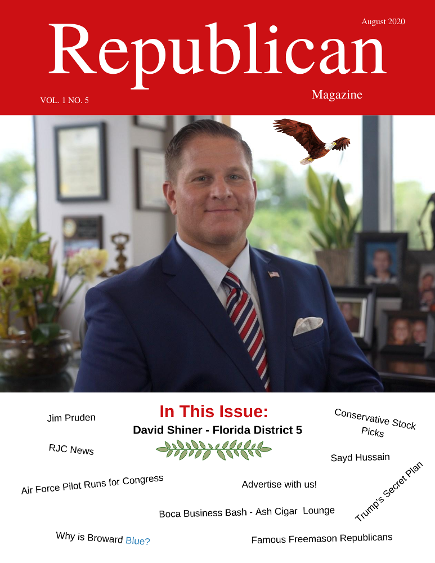 Republican Libertarian Lawyer David Shiner on the cover of Republican Magazine August 2020 Issue