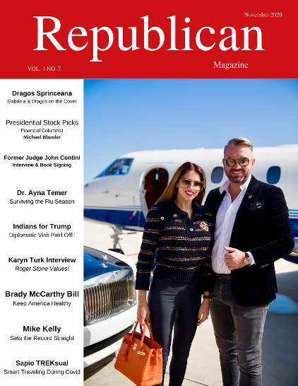 Conservative Supporter Dragos Sprinceana on the Cover of Republican Magazine December 2020 issue along with his wife
